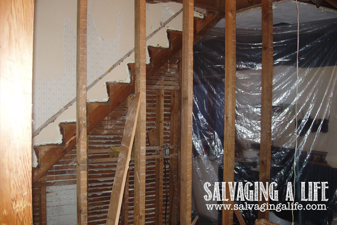 Salvaging A Life - Salvaging The House: stairway moved