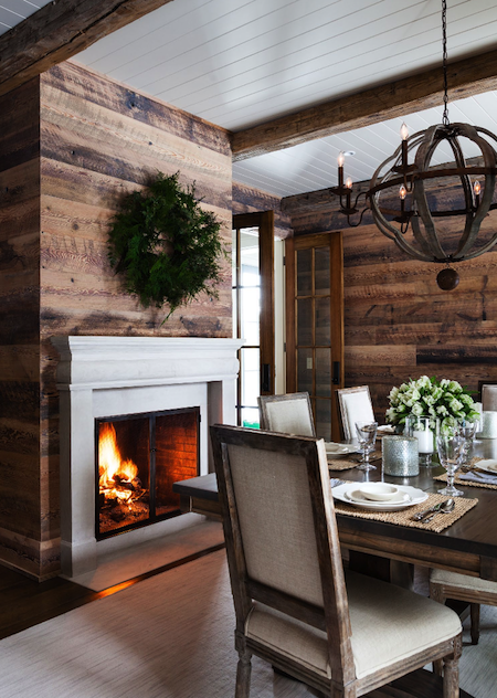 Halcyon Style Blog - planked wall and fireplace