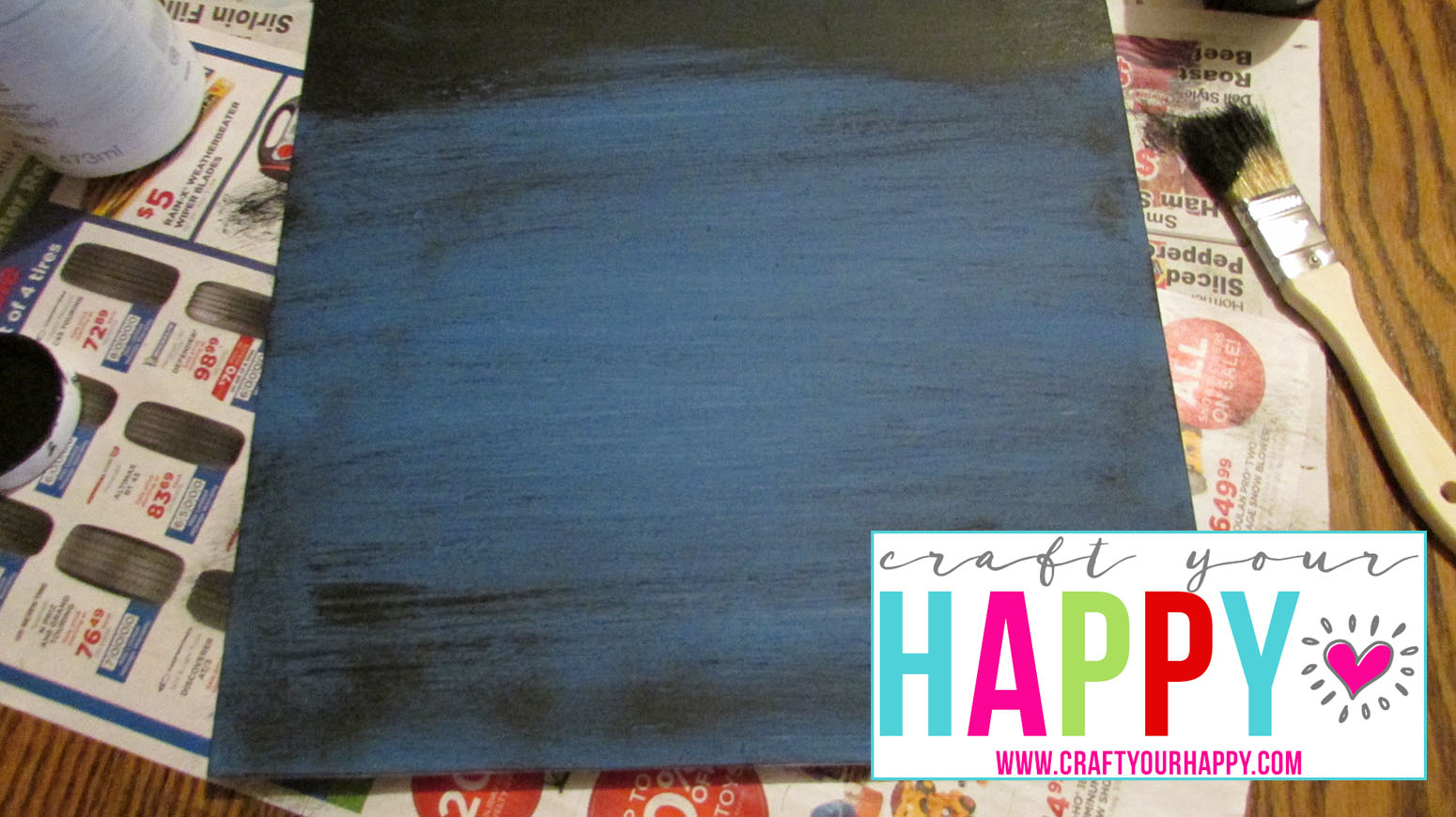 Free Cut File The Thrill Of Hope The Weary World Rejoices - painting the board blue and dry brushing with black.