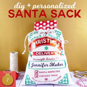 diy + personalized Santa Sack project at JenniferMaker