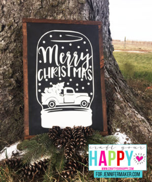 Merry Christmas Snow Globe Cutting File Wood Sign Tutorial - Free At Jennifer Maker