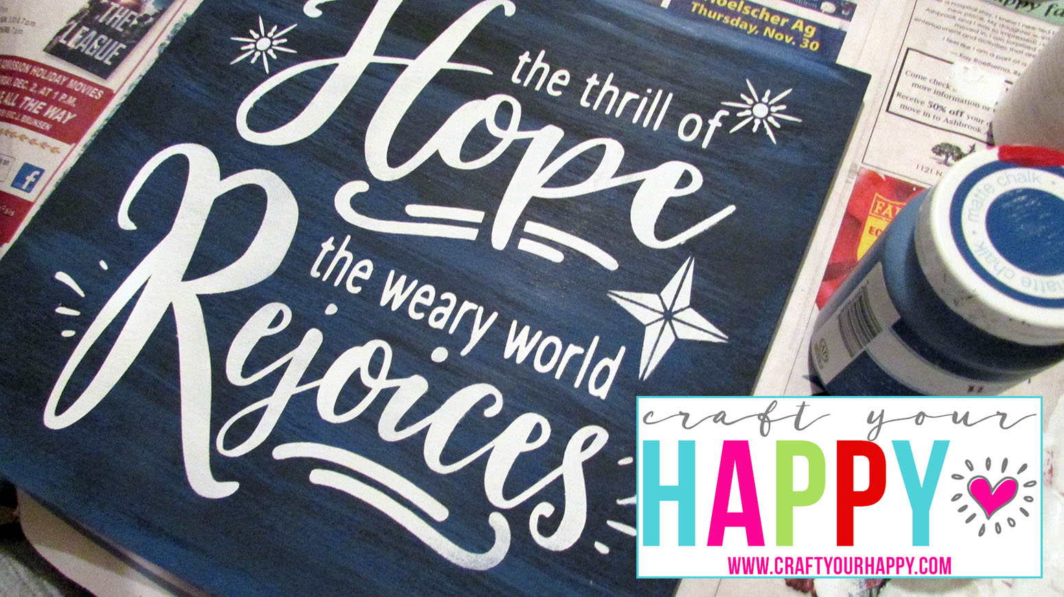 Free Cut File: The Thrill Of Hope The Weary World Rejoices after the stencil is removed.